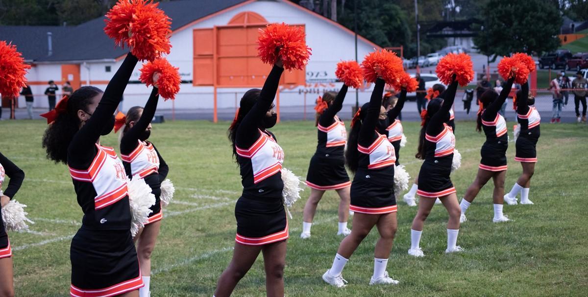 Paris Cheerleaders with pompoms