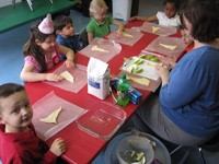 Teacher and students eating